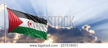 Western Sahara waving flag on blue sky. 3d illustration