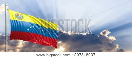 Venezuela waving flag on blue sky. 3d illustration