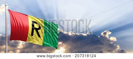 Rwanda waving flag on blue sky. 3d illustration