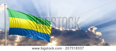 Gabon waving flag on blue sky. 3d illustration