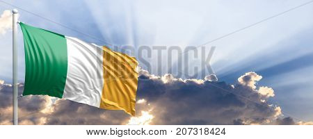Ireland waving flag on blue sky. 3d illustration