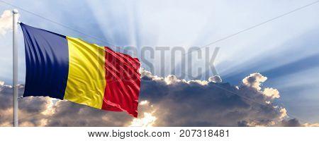 Chad waving flag on blue sky. 3d illustration