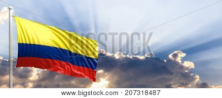 Colombia waving flag on blue sky. 3d illustration