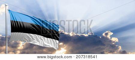 Estonia waving flag on blue sky. 3d illustration