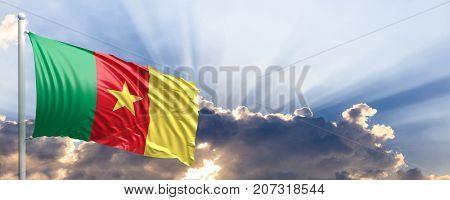 Cameroon waving flag on blue sky. 3d illustration