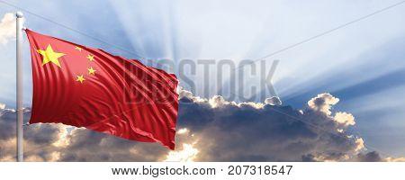 China waving flag on blue sky. 3d illustration