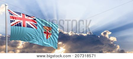 Fiji waving flag on blue sky. 3d illustration