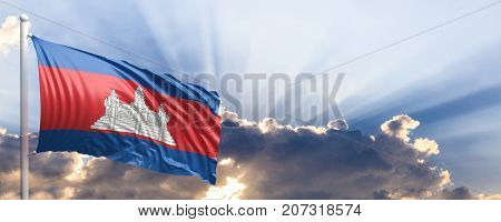 Cambodia waving flag on blue sky. 3d illustration