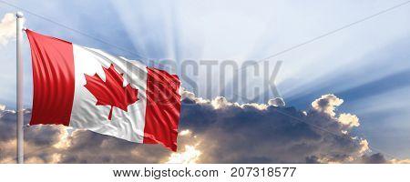 Canada waving flag on blue sky. 3d illustration