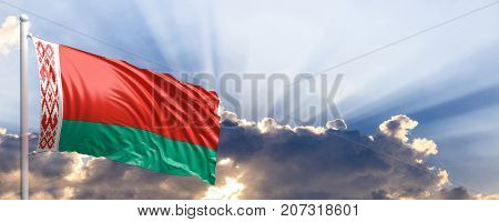 Belarus waving flag on blue sky. 3d illustration