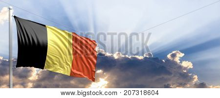 Belgium waving flag on blue sky. 3d illustration