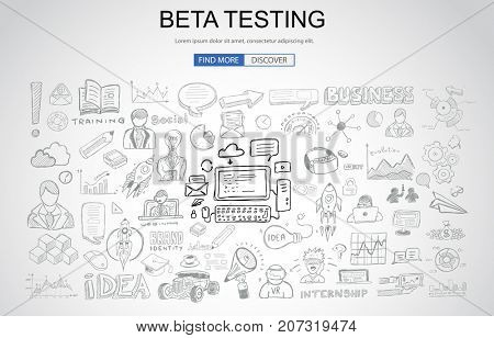 Beta Testing concept with Business Doodle design style: online audience, tester groups,test phases. Modern style illustration for web banners, brochure and flyers.
