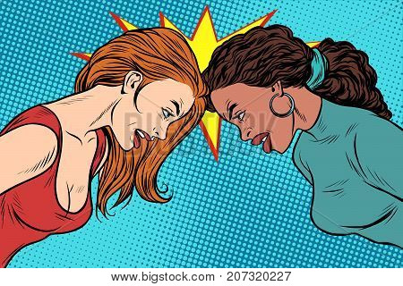 Black and White female standoff. Political and social conflict. Racial discrimination. National intolerance. Pop art retro vector illustration
