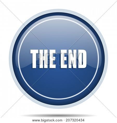 The end blue round web icon. Circle isolated internet button for webdesign and smartphone applications.