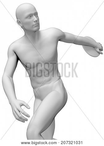 3d rendered medically accurate illustration of a discus thrower