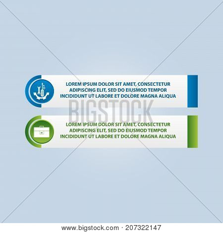 Vector Illustration. An Infographic Template With 2 Steps And An Image Of Two Rectangles. Use For Bu