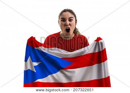 Puerto Rican female fan holding the national flag isolated