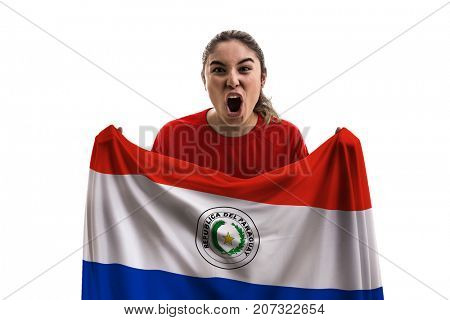 Paraguayan female fan holding the national flag isolated