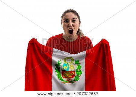 Peruvian female fan holding the national flag isolated