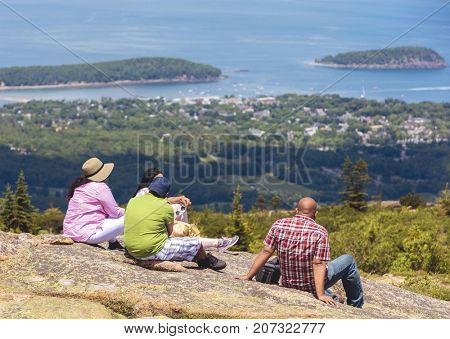 Family looking at the view of Bar Harbor in Maine, USA