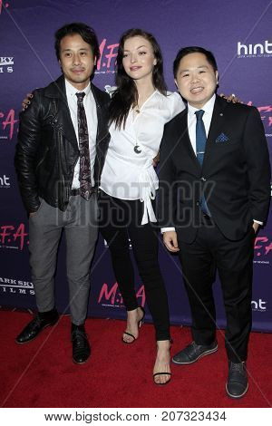 LOS ANGELES - OCT 2:  David Huynh, Francesca Eastwood, Matthew Moy at the