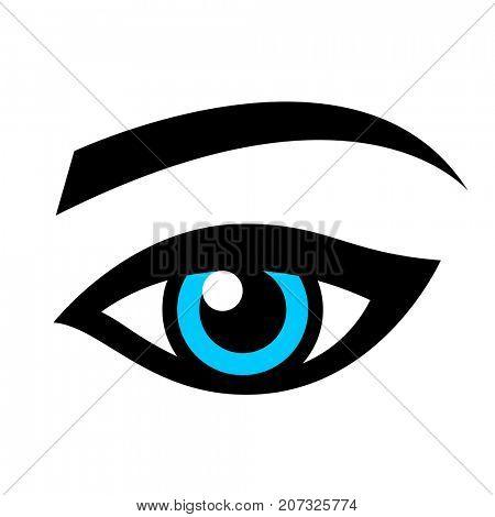 Blue female eye isolated on white