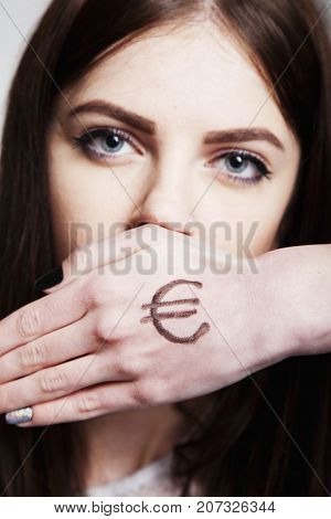 I Can Not Say Anything. The Mouth Of A Young Beautiful Woman Closes Her Hand Drawn With Euro Money A
