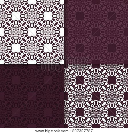 Set of maroon floral ornaments. Seamless patterns for wallpapers and fabric. Vector illustration
