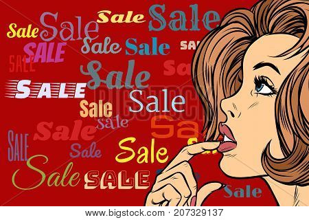 Beautiful woman in sales background. Pop art retro vector illustration