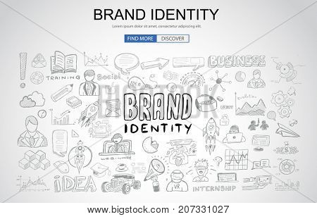 Brand identity concept with Business Doodle design style: company image, advertising tips, best practice. Modern style illustration for web banners, brochure and flyers.