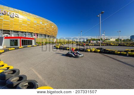 GDANSK, POLAND - AUGUST 14, 2017: Go kart track at the Energa stadium in Gdansk, Poland. This is the biggest and the fastest karting track in Tricity with 6800 m2 area and 600 metres length.