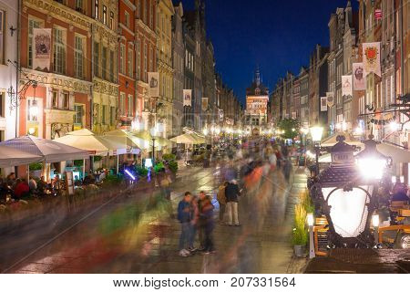 GDANSK, POLAND - AUGUST 14, 2017: Architecture of the Long Lane in Gdansk at night. Baroque architecture of the Long Lane is one of the most notable tourist attractions of the city.