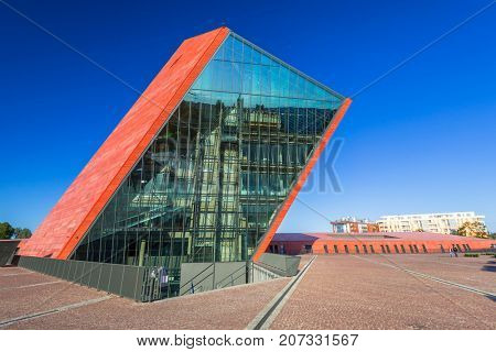 GDANSK, POLAND - AUGUST 14, 2017: Museum of the Second World War in Gdansk, Poland. The Museum main exhibition covering an area of about 5,000 square metres.