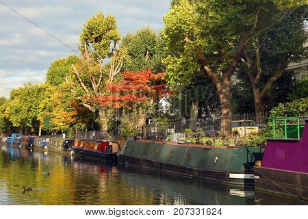 LONDON, UK - SEPTEMBER 23, 2017: Little Venice water channles with colorful barges, London, UK, Europe