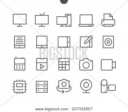 Devices UI Pixel Perfect Well-crafted Vector Thin Line Icons 48x48 Ready for 24x24 Grid for Web Graphics and Apps with Editable Stroke. Simple Minimal Pictogram Part 1-3