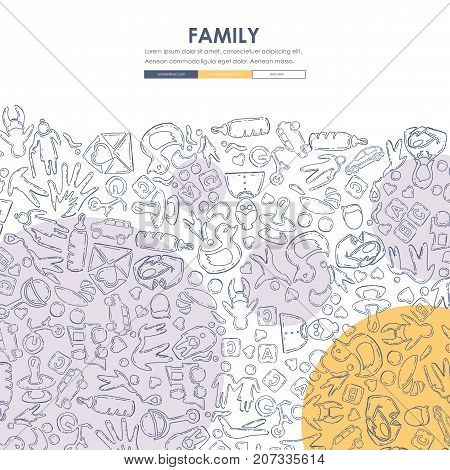 family Website Template Design with Doodle Background