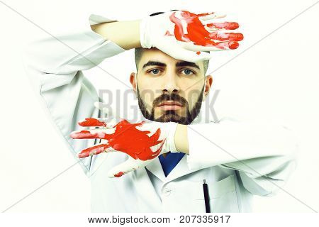 Surgery And Treatment Concept. Man With Beard In Medical Uniform