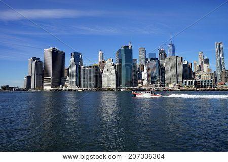 New York Manhatten Side with Hudson River .