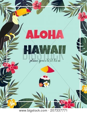 Tropical Hawaiian Poster with toucan. Party template