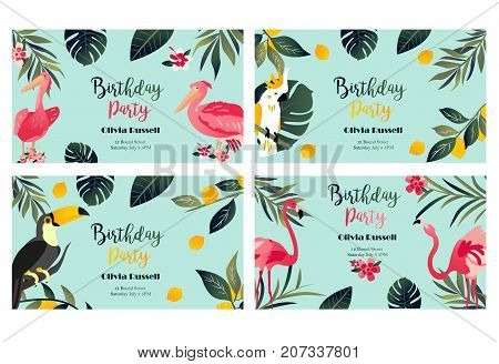 4 Tropical Hawaiian Posters with toucan parrot pelican and flamingo. Party template Invitation, banner, card