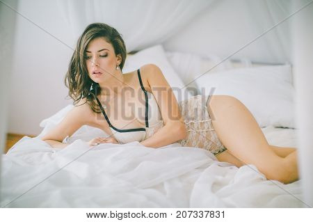 Sexy beautiful brunette girl in underclothes Sexy beautiful brunette girl in underclothes