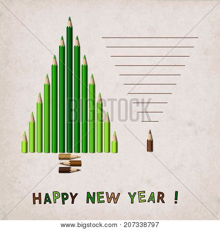 Composition Stylized Christmas Tree of Realistic Green and Brown Pencils on Paper Background. New Year's Design Concept.