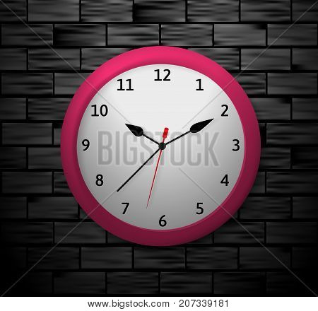Vector illustration of a red clock showing the specified time. An object on a black brick background.