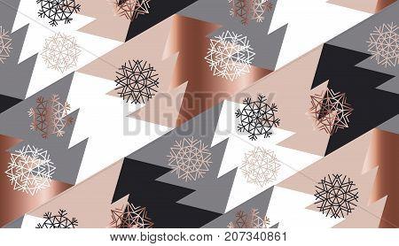 rose gold color abstract xmas tree geometry vector illustration. tender elegant christmas celebration style seamless pattern design