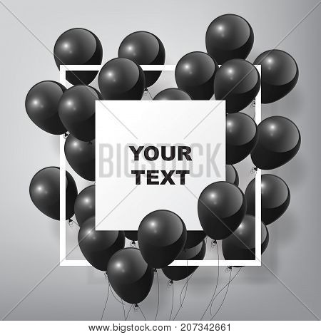 Flying Realistic Glossy Black Balloons with square white blank and frame, black Friday concept on white background
