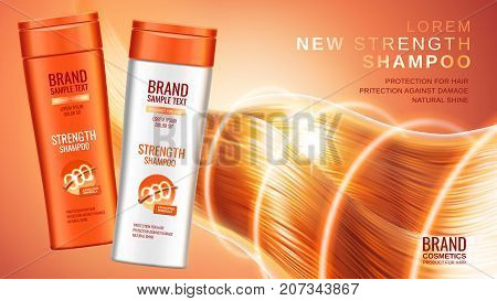 Premium shampoo ads realistic cosmetic bottles of shampoo with different packaging designs the effects of protection and shine and radiance of hair on a bright orange background 3d illustration