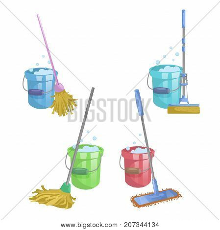Cartoon house and apartment cleaning service icon set. Mops with bucket with washing liquid. Modern plastic dry mop old mop squeeze mop. Simple colors and gradient vector illustration.