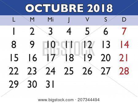 October 2018 Wall Calendar Spanish