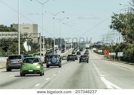 Toronto Canada 09.09.2017 Traffic in Construction area on Major highway near Toronto Canada