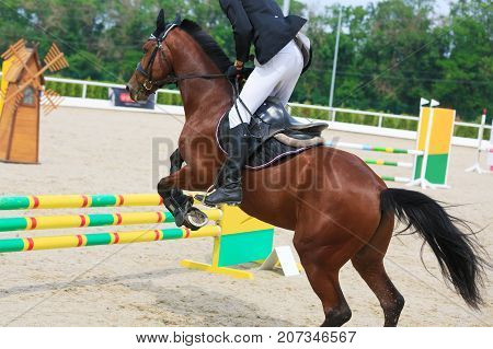 Rider on a chestnut horse jumps over a barrier in jumping competition